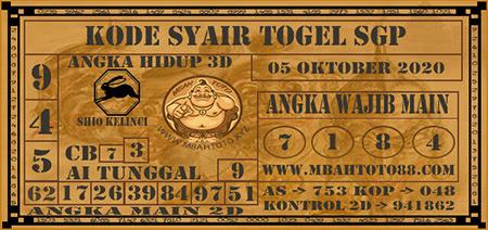 Prediksi Togel Mbahtoto Singapura Senin 05 Oktober 2020