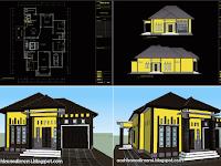 Download Gambar Rumah 1 Lantai Type 230 m2 DWG AutoCAD