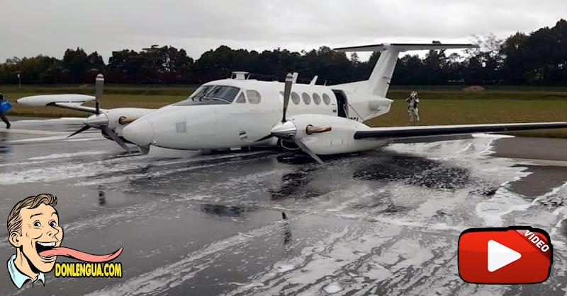 Así aterrizó una avioneta de la DEA que se quedó sin tren de aterrizaje