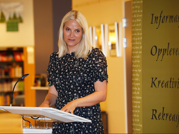 Crown Princess Mette-Marit  completed at Literature Train 2016 events. Princess Mette-Marit wears Valentino dress