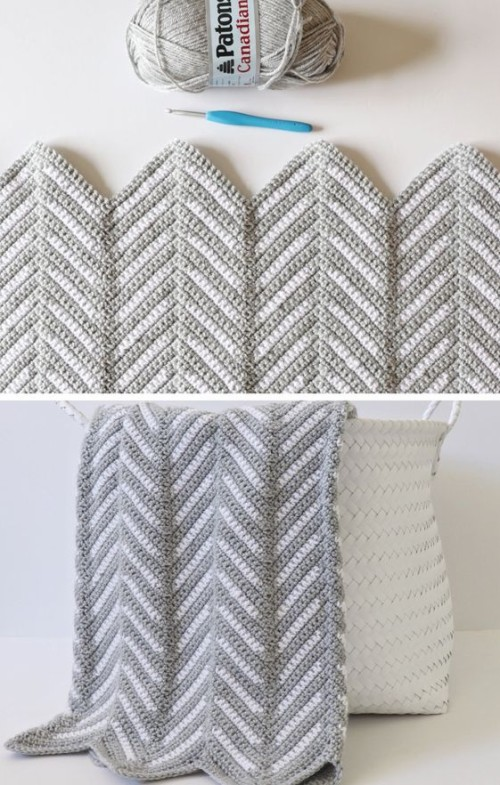 Crochet Chevron Arrows Blanket - Free Pattern