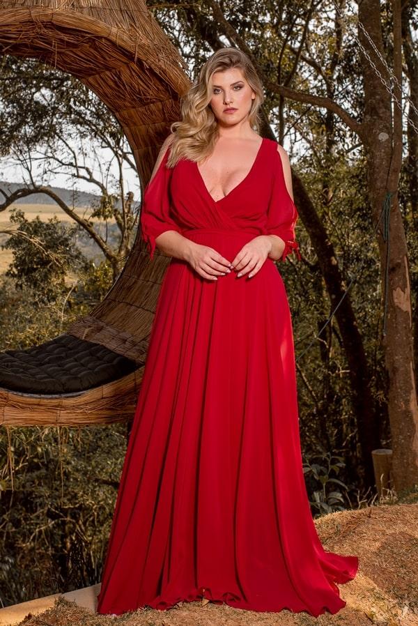 vestido  longo vermelho com manga