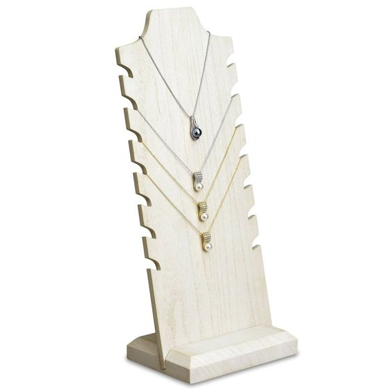 #WDN68-WH Wooden Freestanding Necklace Display Stand