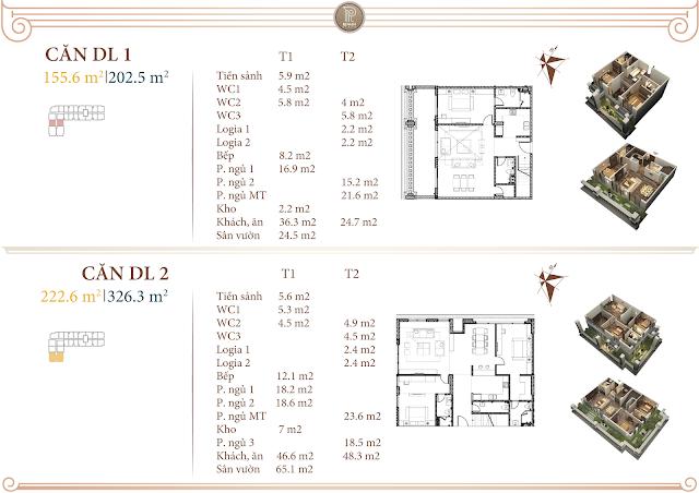 Mặt bằng thiết kế căn Duplex DL1 & DL2