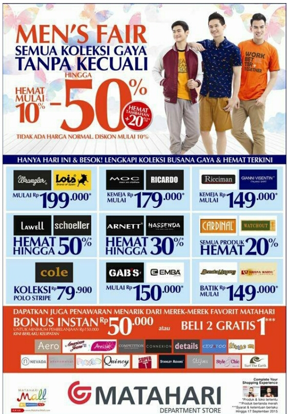 Matahari Promo Men S Fair 16 17 September 2015
