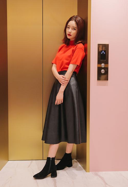 Pleather Midi Skirt