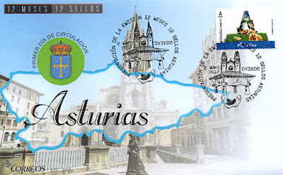 Sobre primer día Asturias, 12 sellos, 12 meses, 12 provincias