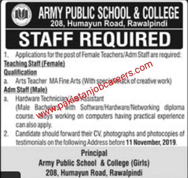 Latest Army Public School & College Rawalpindi Jobs 2019 for Teaching & Admin Staff