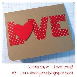 Washi Tape LOVE card - Valentine - LeroyLime