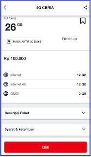 Paket Ceria 4G 26 GB Dari Telkomsel