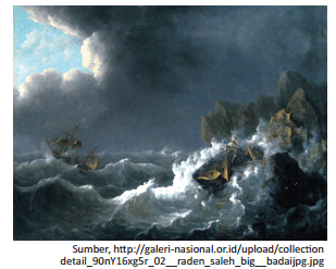 lukisan berjudul Kapal Dilanda Badai karya Raden Saleh www.simplenews.me