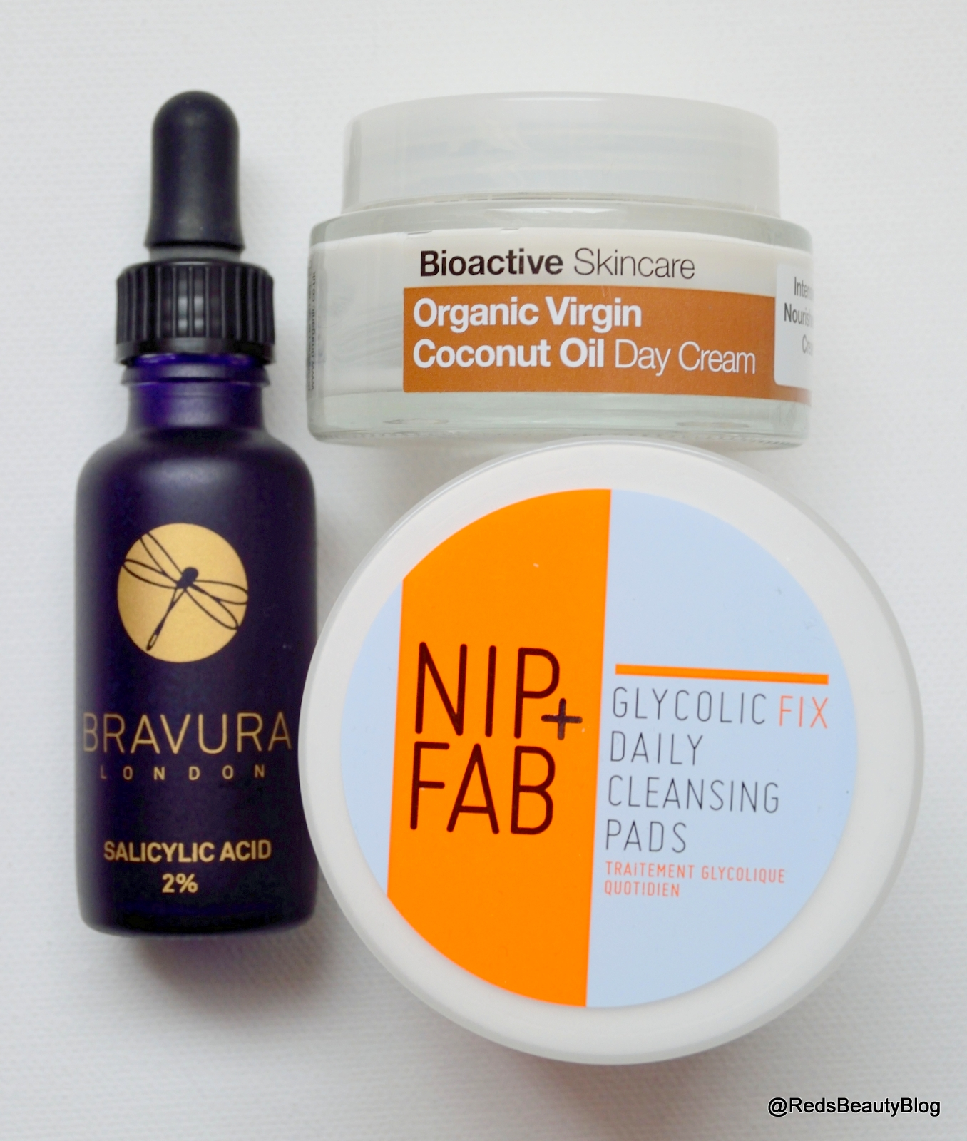 Picture of Bravura London Salicylic Acid, Nip & Fab Glycolic Pads and Dr Organic Coconut Day Cream