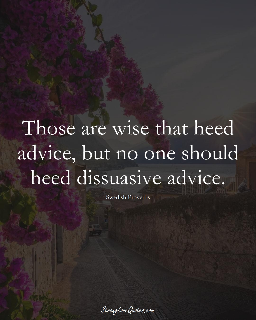 Those are wise that heed advice, but no one should heed dissuasive advice. (Swedish Sayings);  #EuropeanSayings
