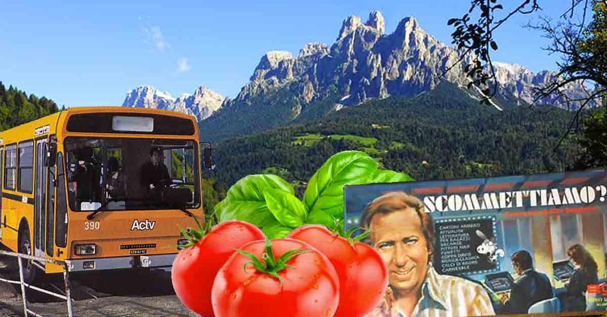 Fiera di Primiero con pomodori, basilico e il gioco in scatola di ''Scommettiamo?'' con Mike Bongiorno