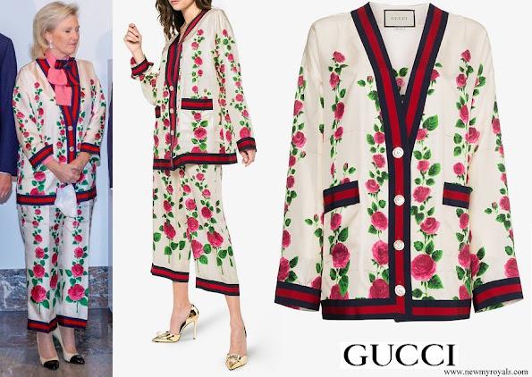 Princess Astrid wore Gucci Rose Garden Print Silk Cardigan