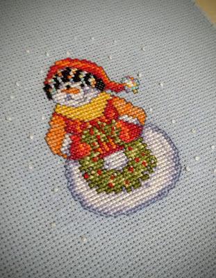 snowman, игрушка на елку,  вышивка снеговик