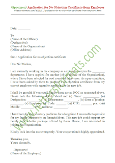 request letter format for no objection certificate from employer