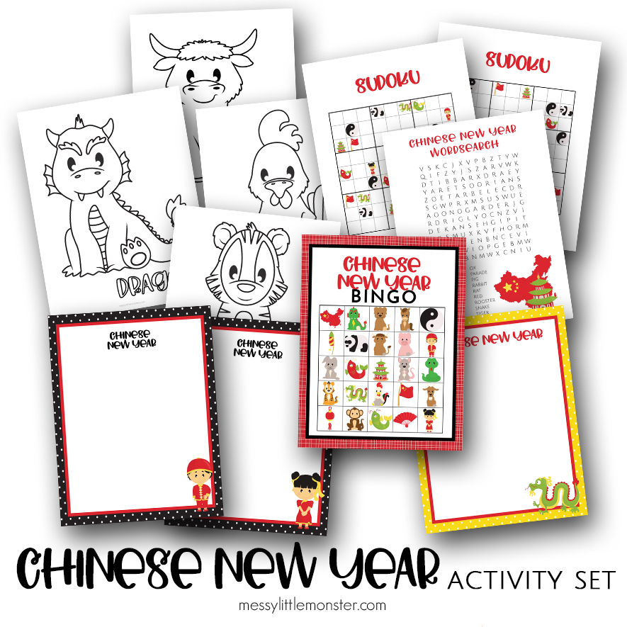 Chinese new Year coloring pages and printable activities for kids