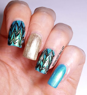 Green, Gold & Black Chevron Nail Art