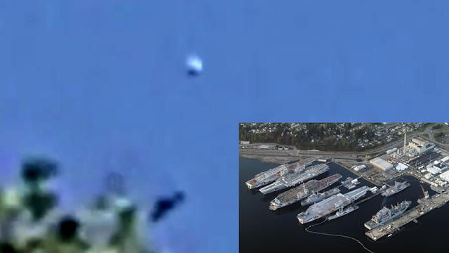 Disco sobre el astillero de barcos militares de EE. UU. Bremerton, Washington, el 1-21 de 2021