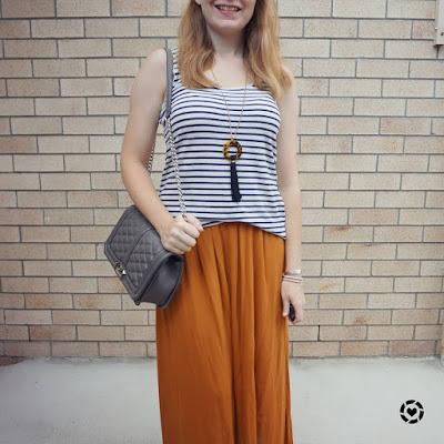 awayfomtheblue Instagram | navy white stripe tank ochre maxi skirt RM love crossbody bag