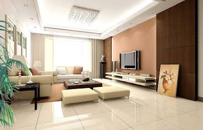 Perpaduan Warna Ruang Tamu coklat dan putih krem - Living Room brown and white cream color