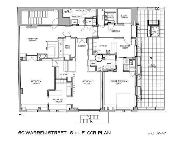 Floor plan of sixth floor of Tribeca penthouse