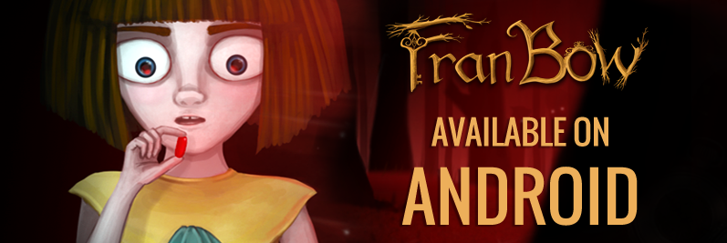 Fran Bow, niña protagonista de la aventura homónima vestida con un traje amarillo, está a punto de comer una píldora roja.