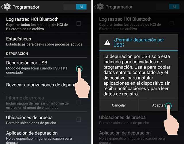habilitar la depuración USB en Android 4.0 y 4.1