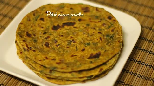 Healthy palak paneer paratha recipe at home
