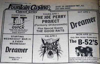 Fountain Casino concert series March/April 1982