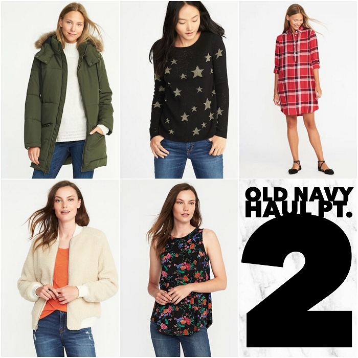 bbloggers, bbloggersca, canadian beauty bloggers, fbloggers, plus size, old navy, haul, fall 2017, fashion, style, style blogger, sweater weather, fashionblogger. parka, frost free, long, stars, plaid, dress, luxe, swing tank, sherpa bomber, winter jacket