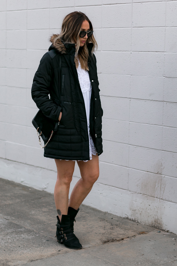 black fur trimmed parka coat over dress