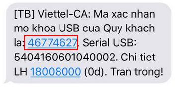 Hình 8 - Mã mở khóa USB token Viettel được gửi qua số điện thoại