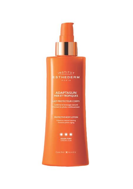 my midlife fashion, institut esthederm adaptasun sea and tropics protective body lotion