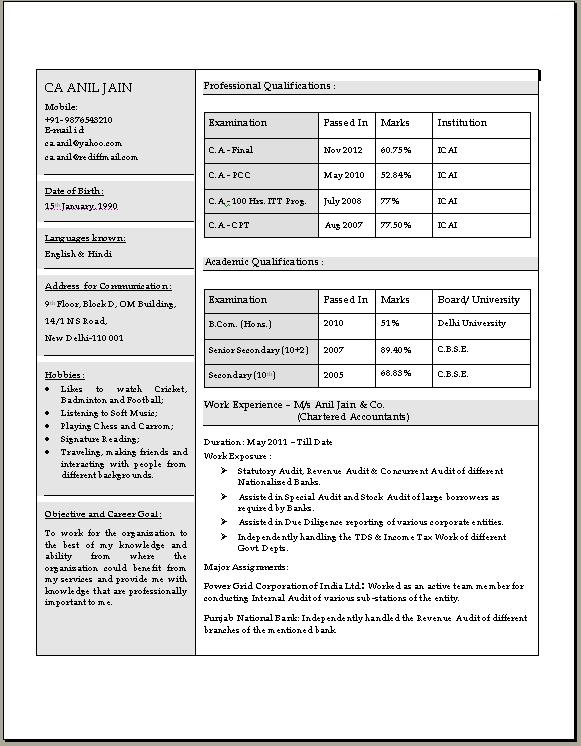 Chartered Accountant Resume in Doc - chartered accountant sample resume