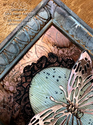 Sara Emily Barker https://sarascloset1.blogspot.com/2020/06/copper-penned-panel.html Mixed Media Panel #timholtz #sizzix #stampersanonymous #ranger 3