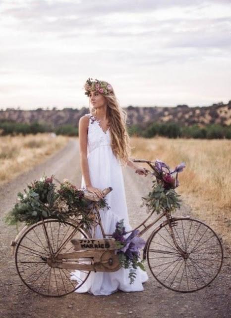 robe de mariée bohème longue simple col en V
