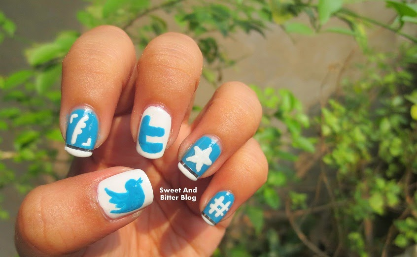 Twitter Icons Easy Nail Art