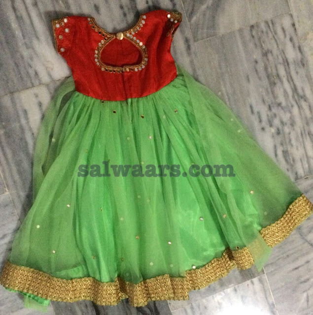Green Red Mirror Work Frock for Kids