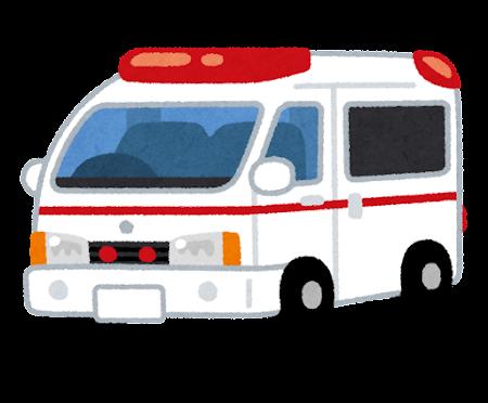 救急車のイラスト(斜め)