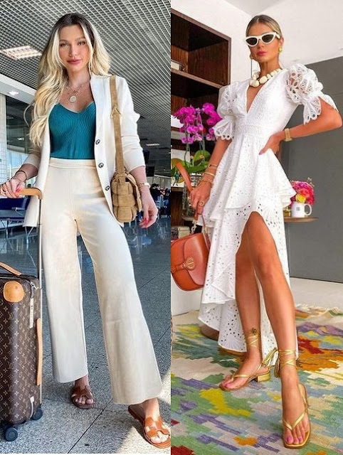 6 combinações de looks para usar em 2021, look elegante com rasteirinha Mama Castilho, Thássia Naves