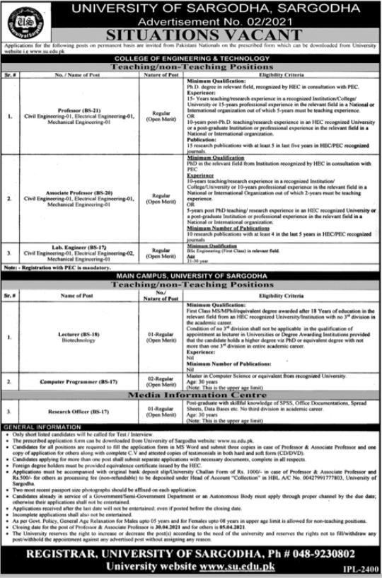 University of Sargodha Faculty & Non Faculty Jobs 2021