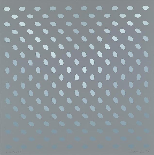 Bridget Riley art, blue dots