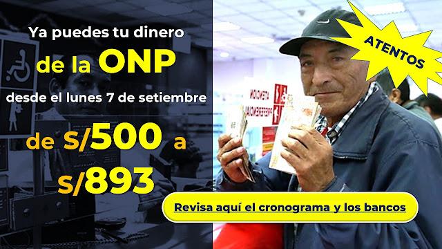 ONP Banco de la Nación anunció cronograma de pagos para setiembre