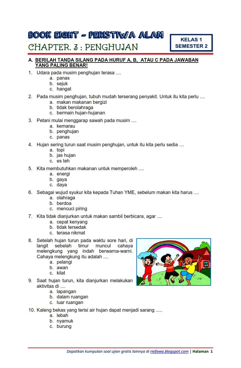 Soal Tematik Kelas 1 Tema 1 Pdf : tematik, kelas, Download, Tematik, Kelas, Semester, Subtema, Peristiwa, Penghujan, Edisi, Terbaru