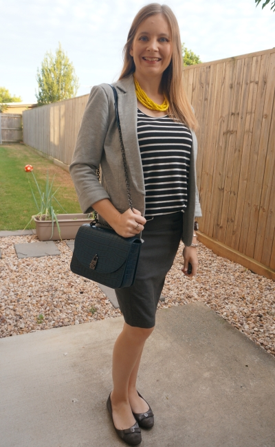 monochromatic black striped tank grey jersey blazer pencil skirt autumn office outfit yellow statement necklace teal bag | awayfromtheblue