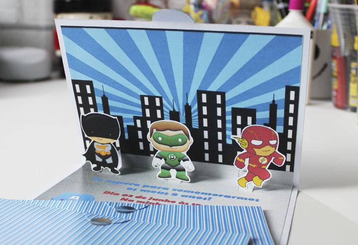 Tutorial Convite Pop Up Super Heróis Na Estante