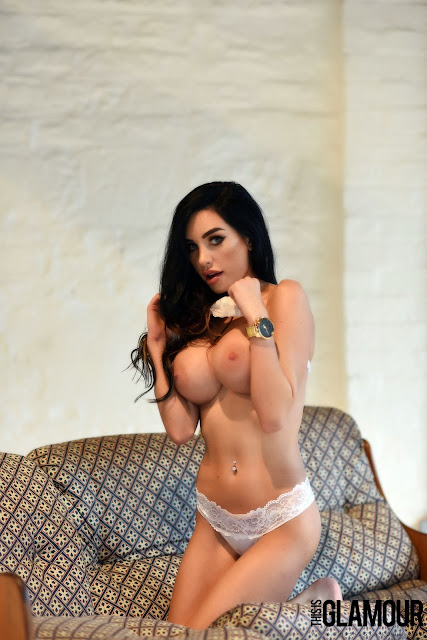 Ann Denise White Lingerie squeezing big naked boobs on knees