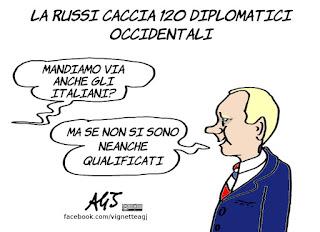 putin, diplomatici, espulsioni, russia 2018, mondiali, vignetta, satira